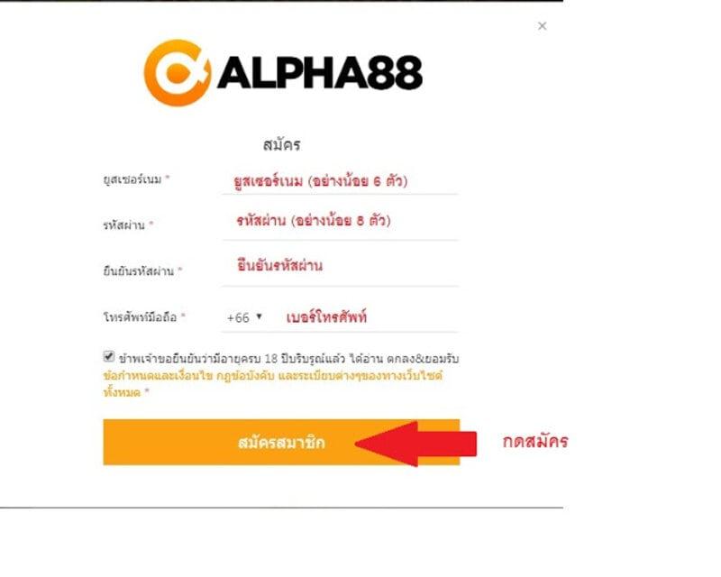 สมัครสมาชิกกับ alpha88 ไทย ปลอดภัย ไม่โกง